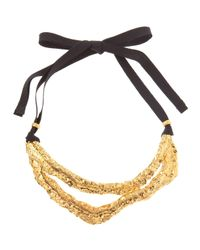Elie Tahari | Black Antique Brass Collar Necklace | Lyst