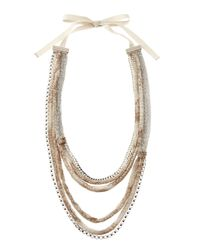 Elie Tahari | Black Chainprinted Chiffon Necklace Tan | Lyst