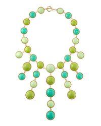 Fragments - Green Cabochon Bib Necklace - Lyst