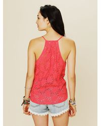 Free People - Pink Love Sam Eyelet Tank - Lyst