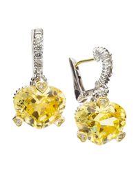 Judith Ripka - Metallic Fontaine Heart-Shape Cubic Zirconia Earrings - Lyst