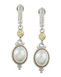 Judith Ripka | Metallic Mabe Pearl and Diamond Drop Earrings | Lyst