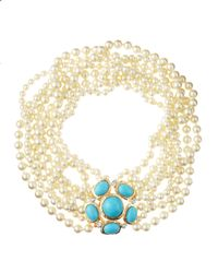Kenneth Jay Lane | Natural Eightstrand Pearl Necklace with Brooch Turquoise | Lyst