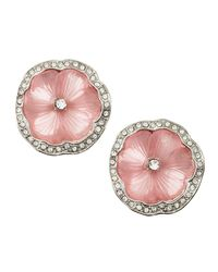 Kenneth Jay Lane | Metallic Flower Rhinestone Clip Earrings | Lyst