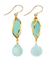 Devon Leigh - Blue Chalcedony Twisted Earrings - Lyst