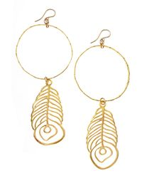 Devon Leigh | Metallic Feather Pendant Hoop Earrings | Lyst