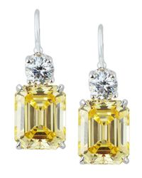 Fantasia by Deserio | Green Emerald-cut Dangle & Drop Earrings | Lyst