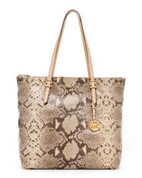 MICHAEL Michael Kors | Multicolor Jet Set Pythonembossed Large Item Tote Angora | Lyst