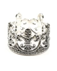 Judith Jack | Metallic Sterling Silver Marcasite Fleur De Lis Crown Ring | Lyst
