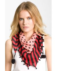 Betsey Johnson | Pink Dots Stripes Scarf | Lyst