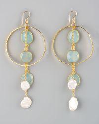Devon Leigh | Blue Chalcedony Pearl Drop Earrings | Lyst