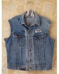Free People   Blue Vintage Distressed Denim Vest   Lyst