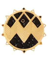 House of Harlow 1960 - Metallic House Of Harlow Gold and Black Zig Zag Starburst Ring - Lyst