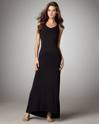 Vince - Black Knit Racerback Maxi Dress - Lyst