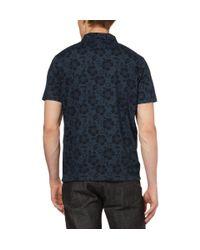 YMC - Blue Hibiscus Print Cotton Polo Shirt for Men - Lyst