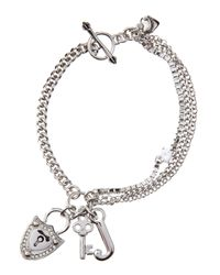 Juicy Couture | Metallic Lockkey Charm Bracelet Silvertone | Lyst