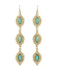 Kendra Scott - Metallic Threetier Amazonite Linear Earrings - Lyst