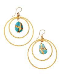 Devon Leigh - Blue Turquoise Doublehoop Earrings - Lyst