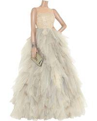 Oscar de la Renta | Beige Tulle Sleeveless Gown | Lyst