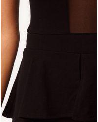 ASOS Collection | Black Unitard with Peplum | Lyst