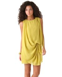 Halston | Yellow Sleeveless Drape Front Dress | Lyst