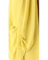 Halston - Yellow Sleeveless Drape Front Dress - Lyst