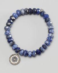 Sydney Evan | Blue Diamond Sapphire Charm Beaded Bracelet | Lyst