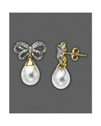 Eci | Metallic Cultured Freshwater Pearl and Diamond Bow Earrings | Lyst