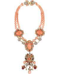 Erickson Beamon | Metallic Crystal Bead Glass Pearl Necklace | Lyst