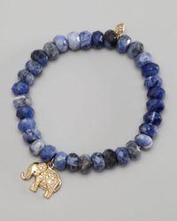 Sydney Evan | Blue Diamond Elephant Charm Beaded Bracelet | Lyst