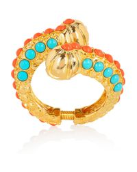 Kenneth Jay Lane | Metallic 22karat Goldplated Cabochon Caterpillar Bangle | Lyst