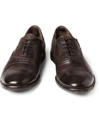 Alexander McQueen - Brown Washed Leather Oxford Brogue for Men - Lyst