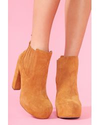 Nasty Gal - Brown Nasty Gal X Jeffrey Campbell Abby Boot Camel Suede - Lyst