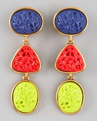 Oscar de la Renta - Multicolor Carved Cabochon Earrings - Lyst
