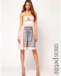 ASOS Collection | Pink Dress in Scarf Print | Lyst