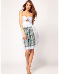ASOS Collection - Pink Dress in Scarf Print - Lyst