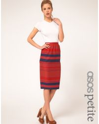 ASOS Collection | Blue Stripe Midi Skirt | Lyst