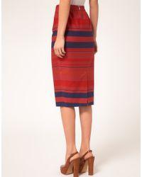 ASOS Collection - Blue Stripe Midi Skirt - Lyst