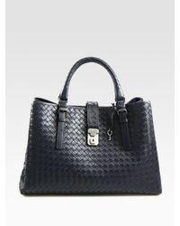 Bottega Veneta | Blue Roma Medium Intrecciato Leather Satchel | Lyst