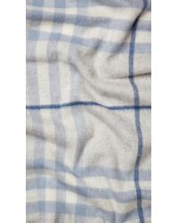 Burberry | Gray Giant Check Cashmere Scarf | Lyst