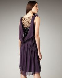 Vera Wang Lavender | Purple Contrast Beaded-back Dress | Lyst