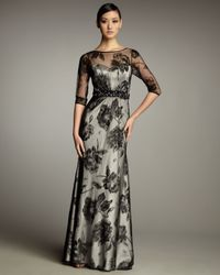 Hoaglund New York | Black Half-Sleeve Lace Illusion Gown | Lyst