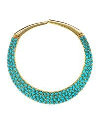 Kenneth Jay Lane | Metallic Turquoise Cabochon Collar Necklace | Lyst