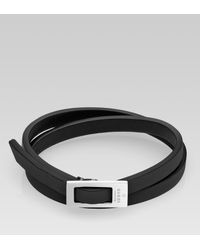 Gucci | Black Bracelet with Buckle for Men | Lyst