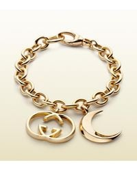 Gucci | Metallic Bracelet with Half Moon and Interlocking G Motif Charms | Lyst