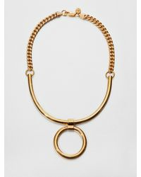 Tory Burch | Metallic Circle Pendant Necklace | Lyst