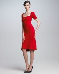 Zac Posen | Red Square Neck Dress | Lyst