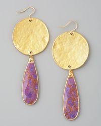 Devon Leigh - Purple Turquoise Drop Earrings - Lyst