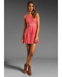 Free People   Pink Daisy Waist Dress   Lyst