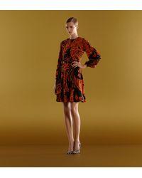 Gucci | Black Long Sleeve Crew Neck Dress with Decoratif Print | Lyst